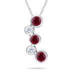 0.12 Cts Diamond & 0.45 Cts Ruby Bubble Pendant in 18K White Gold