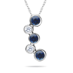 0.55 Cts Diamond & Blue Sapphire Bubble Pendant in 18K White Gold
