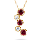 Ruby Pendant - 18K Yellow Gold Ruby & VS Diamond Bubble Pendant