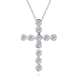 Cross Pendant - 1/3 Ct Diamond Bubble Cross Pendant in 14K Gold