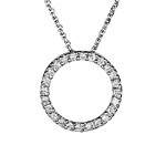 Circle Pendant - 1/4 Ct Diamond Circle Pendant in 18K Gold