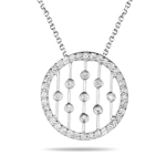1/2 Cts Diamond Circle Pendant in 14K White Gold