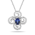 Tanzanite Pendant - Diamond & Tanzanite Flower Pendant in 14K Gold