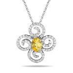 1.50 Cts Diamond & Yellow Sapphire Flower Pendant in 14K White Gold