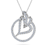 1.15-1.20 Cts  SI2 - I1 clarity and I-J color Diamond Heart in Circle Pendant in 14K White Gold
