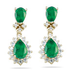 2.00 Cts Diamond & AA Pear Natural Emerald Cluster Earrings-14KY Gold