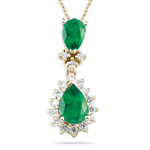 1.00 Cts Diamond & Natural Emerald Cluster Pendant in 14K Yellow Gold