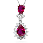 1/4 Cts Diamond & 0.75 Cts Ruby Cluster Pendant in 14K White Gold
