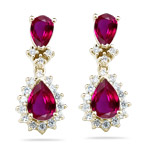 2.00 Cts Diamond & AA Pear Ruby Cluster Earrings in 14K Yellow Gold