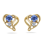 Tanzanite Earrings - Tanzanite & Diamond Open Heart Earring