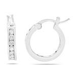 Cubic Zircon Hoop Earrings in Sterling Silver