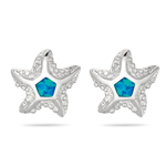2 mm AA Pentagon Created Opal Starfish Post Earrings in Sterling Silver