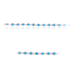Blue Created Opal Bracelet in Sterling Silver