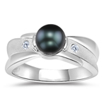 0.04 Cts Diamond & Tahitian Pearl Ring in 14K White Gold