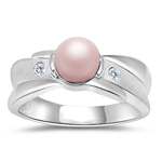 0.04 Cts Diamond & Pink Pearl Ring in 14K White Gold