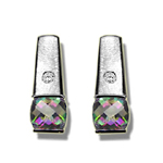 0.04 Cts Diamond & 1.04 Cts Mystic Topaz Earrings in 14K White Gold