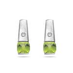 0.04 Cts Diamond & 1.32 Cts Peridot Earrings in 14K White Gold