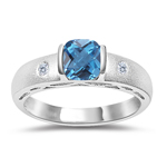0.04 Cts Diamond & 0.52 Cts Swiss Blue Topaz Ring in 14K White Gold