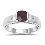 0.04 Cts Diamond & 0.70 Cts Garnet Ring in 14K White Gold