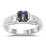 0.04 Cts Diamond & 0.52 Cts Mystic Topaz Ring in 14K White Gold