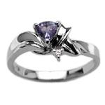 Tanzanite Ring - 0.0125 Cts Diamond & Tanzanite Ring in 14K White Gold