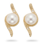 0.02 Cts Diamond & 6mm Pearl Earrings in 14K Yellow Gold