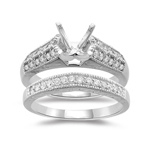 0.55 Cts Diamond Filigree Engagement Ring & Wedding Band in Platinum