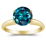 0.25-0.34 Cts of 4 mm AAA Round Lab Created Alexandrite Ring in 14K Yellow Gold
