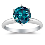 0.25-0.34 Cts of 4 mm AAA Round Lab Created Alexandrite Ring in 14K White Gold