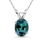 7x5 mm AAA Oval Lab created Russian Alexandrite Solitaire Pendant in 14K White Gold