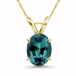 6x4 mm AAA Oval Lab created Russian Alexandrite Solitaire Pendant in 14K Yellow Gold