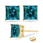 3.72-4.04  Cts of 7 mm AAA Princess Russian Lab Created Alexandrite Stud Earrings in 14K Yellow Gold
