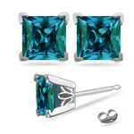 3.90-4.40 Cts of 7 mm AAA Princess Russian Lab Created Alexandrite Scroll Stud Earrings in 14K White Gold