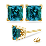 3.90-4.40 Cts of 7 mm AAA Princess Russian Lab Created Alexandrite Scroll Stud Earrings in 14K Yellow Gold