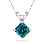 0.65-0.88 Cts of 5 mm AAA Princess Russian Lab Created Alexandrite Solitaire Pendant in 14K White Gold