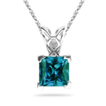0.65-0.75 Cts of 5 mm AAA Princess Russian Lab Created Alexandrite Scroll Solitaire Pendant in 14K White Gold