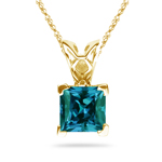 0.70-0.95 Cts of 5 mm AAA Princess Russian Lab Created Alexandrite Scroll Solitaire Pendant in 14K Yellow Gold