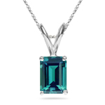 8.74-9.18 Cts of 14x10 mm AAA Emerald Russian Lab Created Alexandrite Solitaire Pendant in 14K White Gold