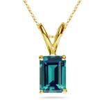7.05-7.18 Cts of 12x10 mm AAA Emerald Russian Lab Created Alexandrite Solitaire Pendant in 14K Yellow Gold