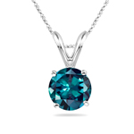 8 mm AAA Round Lab created Russian Alexandrite Solitaire Pendant in 14K White Gold