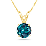 7 mm AAA Round Lab created Russian Alexandrite Solitaire Pendant in 14K Yellow Gold