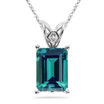 5.07-5.31 Cts of 11x9 mm AAA Emerald Russian Lab Created Alexandrite Scroll Solitaire Pendant in 14K White Gold