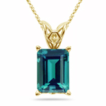 5.07-5.31 Cts of 11x9 mm AAA Emerald Russian Lab Created Alexandrite Scroll Solitaire Pendant in 14K Yellow Gold