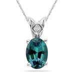 9.00-15.50 Cts of 16x12 mm AAA Oval Russian Lab Created Alexandrite Scroll Solitaire Pendant in 14K White Gold