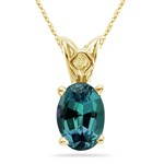 2.68-3.40 Cts of 10x8 mm AAA Oval Russian Lab Created Alexandrite Scroll Solitaire Pendant in 14K Yellow Gold