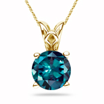 0.25-0.38 Cts of 4 mm AAA Round Lab created Russian Alexandrite Scroll Solitaire Pendant in 14K Yellow Gold