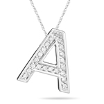 0.26 Cts Diamond A Initial Pendant in 14K White Gold
