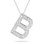 0.26 Cts Diamond B Initial Pendant in 14K White Gold