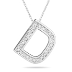 1/4 Cts Diamond D Initial Pendant in 14K White Gold