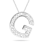 0.26 Cts Diamond G Initial Pendant in 14K White Gold